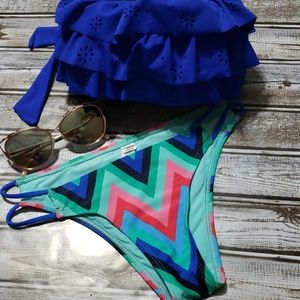 Chevron Double Hip String Bikini Bottoms Sz. S